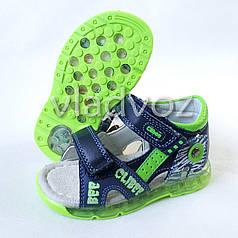 Детские светящиеся босоножки сандалии для мальчика с подсветкой LED син. салатовый Clibee 23р.