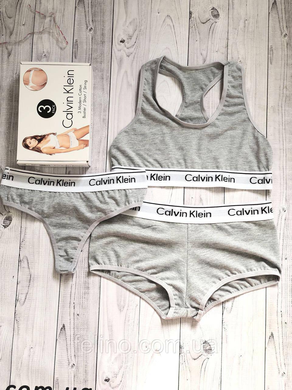 Набор женский Calvin Klein тройка (топ+стринги+шорты) 57800633a183f