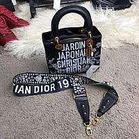 Женская сумка Dior Lady Medium Jardin Japonais Hitam Semprem 5510 Capsule Collection for Japan Black, реплика