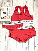 Набор женский Calvin Klein тройка (топ+стринги+шорты), красный М