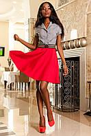 Платье Делового Стиля с Юбкой Солнце Красное S-XL, фото 1
