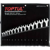 Набор ключей комбинированных, гаечных, рожково-накидных, инструмента для ремонта автомобиля 14 шт. 8-24 TOPTUL