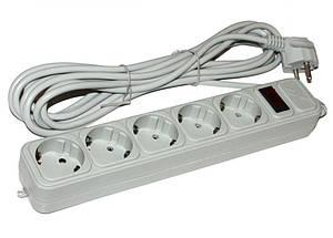 Удлинитель и сетевой фильтр питания Maxxter SPM5-G-6G серый 1,8 м кабель, 5 розеток