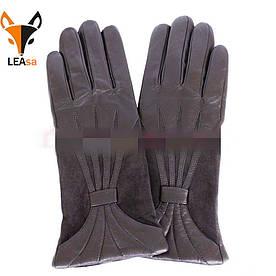 Женские кожаные перчатки с замшевыми вставками