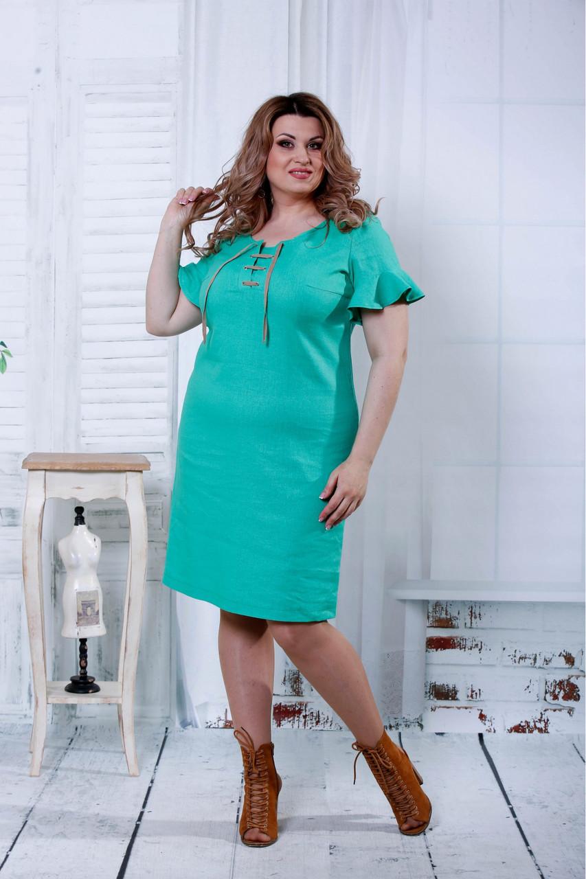 2ab1195b269 Летнее платье из льна зеленого цвета 0803 - 585 грн. Купить в ...