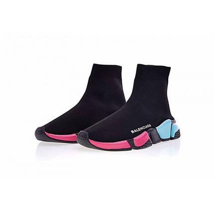 Кроссовки женские BALENCIAGA SPEED TRAINER Black/Pink/Blue Разноцветные, фото 2