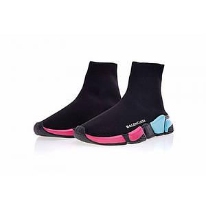 Кроссовки женские BALENCIAGA SPEED TRAINER Black/Pink/Blue Разноцветные