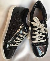 Кроссовки женские,  черные, из лакированной кожи, с блестками, размер 38/39, фото 1