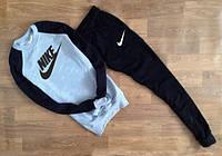 Мужской Спортивный костюм Nike серый с черным рукавом (большой принт) (РЕПЛИКА)