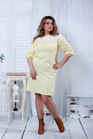 Льняное платье с кружевом 0805 желтое
