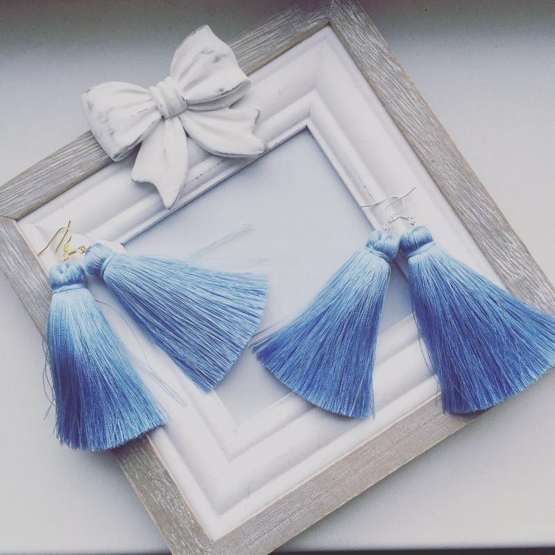 Дизайнерские серьги Дарин голубые