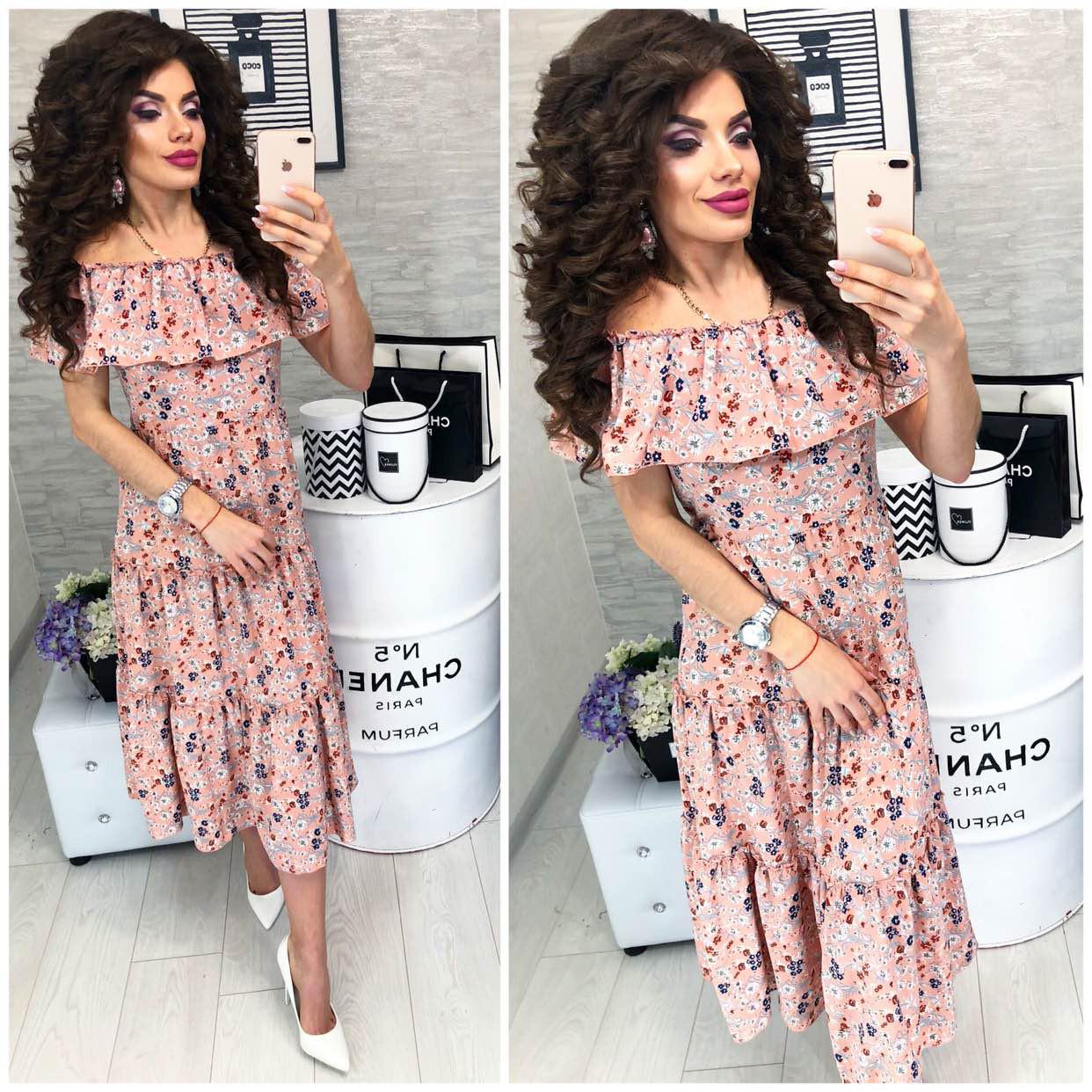 Платье летнее с воланами, новинка 2018, модель 101, цвет - бежевый, принт-цветок
