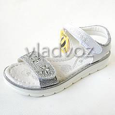 Подростковые босоножки сандалии для девочки серебристые стразы Clibee 32р.
