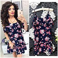 Платье летнее с карманами, новинка 2018, модель 102, цвет - синий, принт 8d668c77897