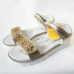 Босоножки сандалии для девочки золотистые стразы Clibee 31р.-36р. 3830