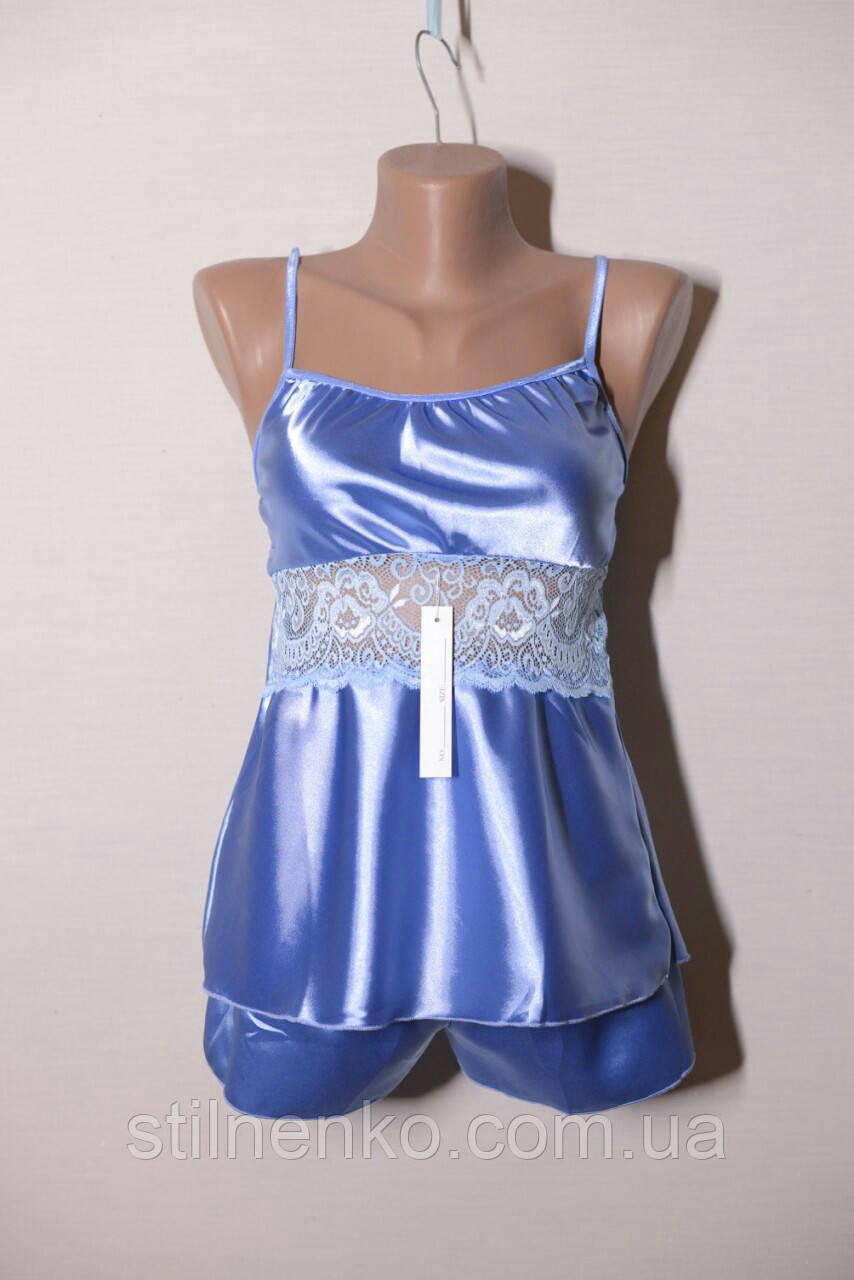 Комплект пеньюар+шортики женский голубой