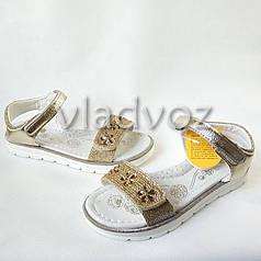 Подростковые босоножки сандалии для девочки золотистые стразы Clibee 31р.