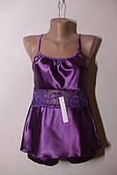Пеньюар+шортики комплект женский цвет фиолетовый