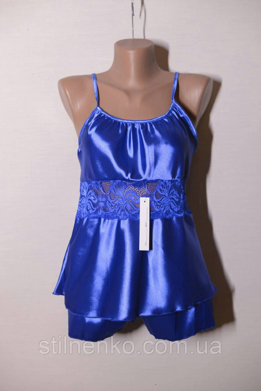 Пеньюар+шортики комплект женский цвет синий