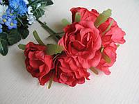 Розы из ткани диаметр 4 см - (упаковка 6 шт.)