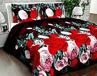 Бязь Gold Алые, розовые розы на темно-коричневом UXT-351