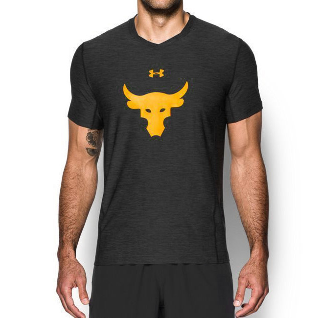Футболка Under Armour коллекция Project Rock Bull 1233390 Сиво-черная XXL (1233390)