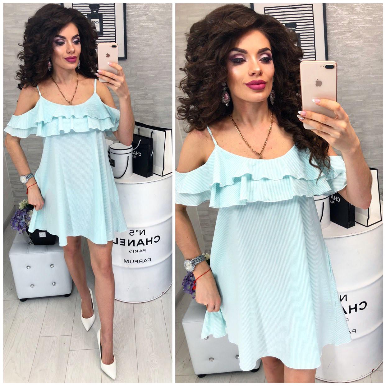 Платье летнее с карманами, новинка 2018, модель 102, цвет - мятная полосочка