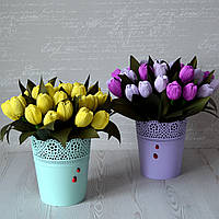 """Корзина с цветами из конфет """"Тюльпаны"""""""