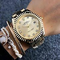 Женские часы Rolex Luxury со стразами золотистые, фото 1