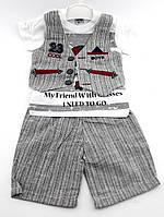 Детские костюмы 1, 4 года Турция летний с шортами для мальчиков серый (КД13)