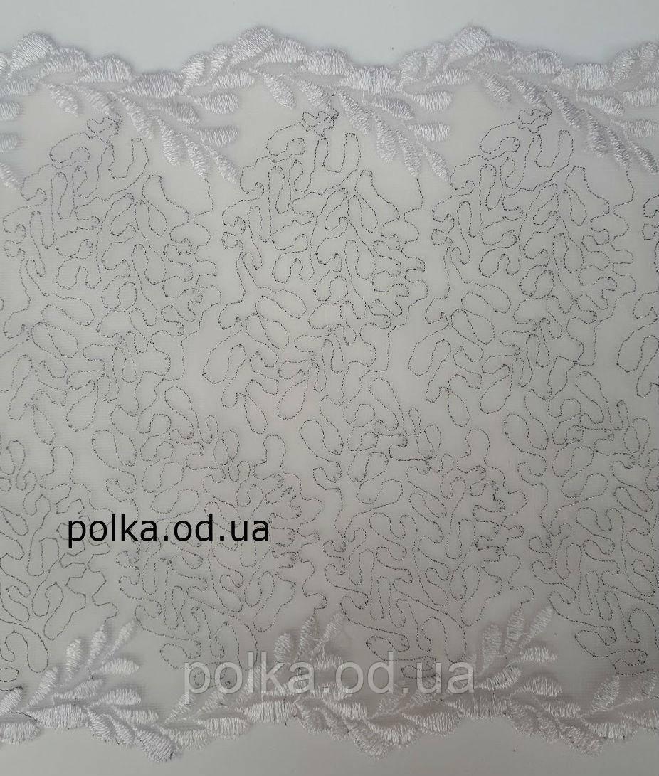 Вышивка на сетке, серебро на белом, ширина 18см