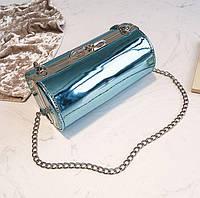 Голубая лаковая сумка кроссбоди, фото 1