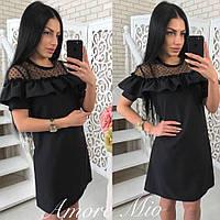 Черное летнее платье с рюшами