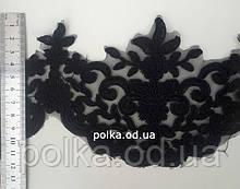 Вышивка на сетке, ширина 12см, цвет черный