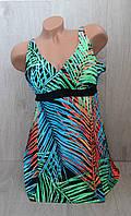 Слитный женский купальник платье+плавки, увеличенный