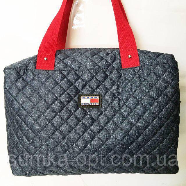 Стеганные сумки оптом джинс (синий+красный)28*40