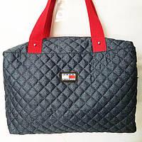 Стеганные сумки оптом джинс (синий+красный)28*40, фото 1