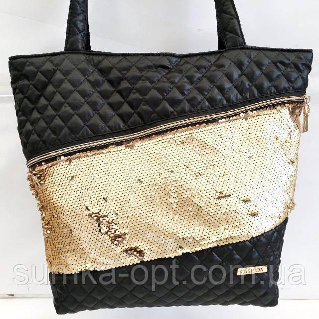 Стеганные сумки (черный +паетки золото)33*41