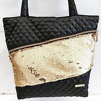 Стеганные сумки (черный +паетки золото)33*41, фото 1