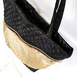 Стеганные сумки (черный +паетки золото)33*41, фото 2