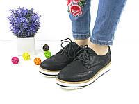 Женские туфли-лоферы черные 1037