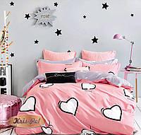Комплект постельного белья из сатина с сердечками двуспальный