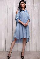 Женское платье рубашка свободного покроя с открытыми плечами, фото 1