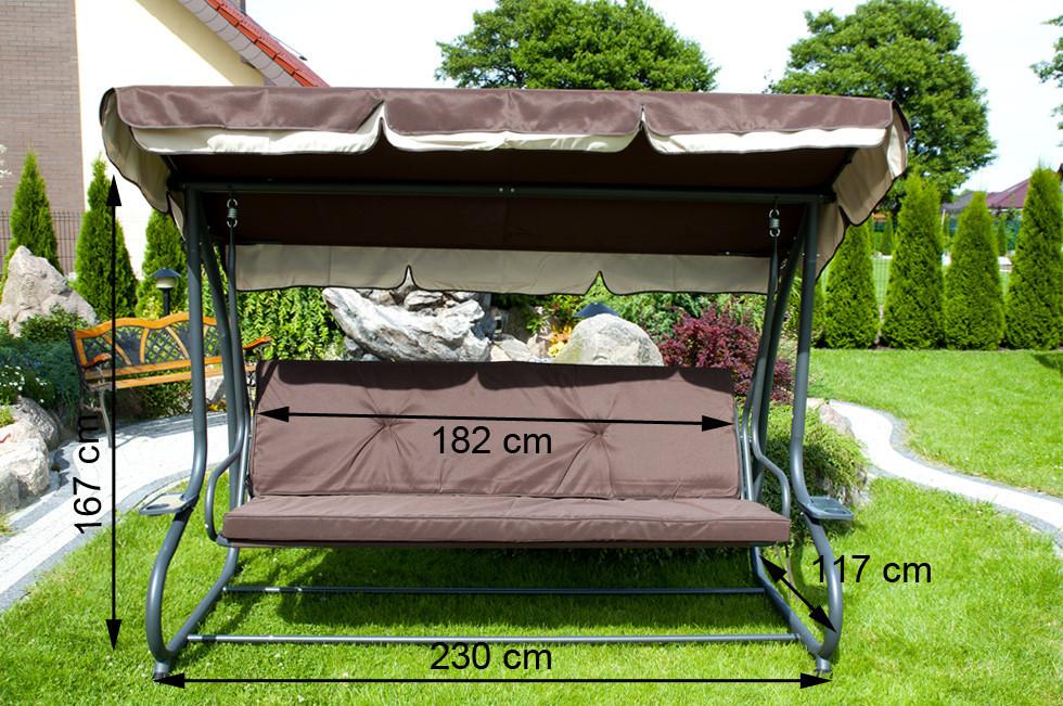 Садовые качели Gracja, 4-х местная (цвет коричневый)