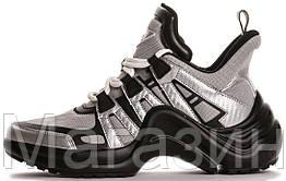 Женские кроссовки Louis Vuitton Archlight Grey/Black (в стиле Луи Витон) серые с черным