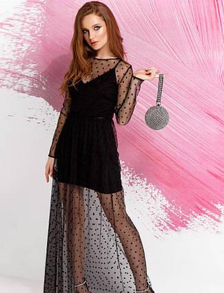 Вечірнє плаття в горошок фатін чорне розмір 42,44,46, фото 2