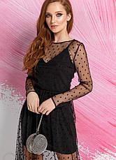 Вечірнє плаття в горошок фатін чорне розмір 42,44,46, фото 3