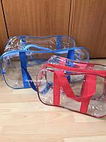 Набор из 2 прозрачных сумок в роддом - S,L - Синие-Красная