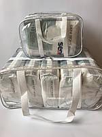 Набор из 2 прозрачных сумок в роддом - S,L - Белые