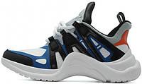 Женские кроссовки Louis Vuitton Archlight White/Black/Blue (в стиле Луи Витон) белые